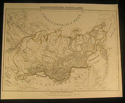 Russia in Asia Siberia Kamchatka Urals c.1850 antique lithograph color map