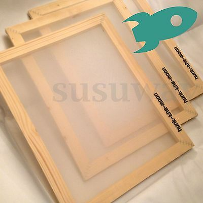 A4 Size Silk Wooden Screen Printing Mesh Count Frames Kit 32T/43T/55T/77T