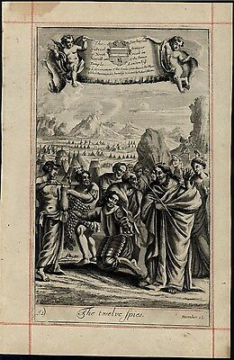 Twelve Spies Scouting Canaan Jewish Conquest 1690 old original engraved print