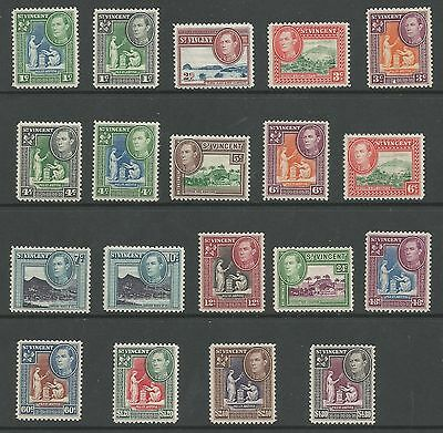 St Vincent Sg164-77 The 1949-52 Qe2 Set Of 19 Fresh Mint Cat £45