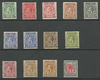 St Vincent Sg131-40 The 1921-32 Gv Set Inc Some Shades To 5/- Cat £59