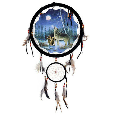 "13"" Wolf Wolves Howl Dream Catcher Wall Hang Decor Feathers Beads Gift DCM1336"
