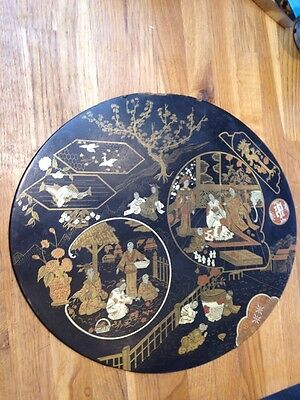 Beautiful Antique Paper Mâché Japanese/ Chinese Plaque