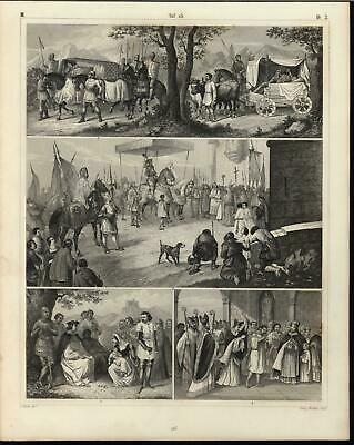 Knights Protecting Nobles Christian Clergy Castles c.1855 antique engraved print