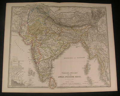 India Bay of Bengal River Ganges 1867 scarce issue of Stieler old vintage map