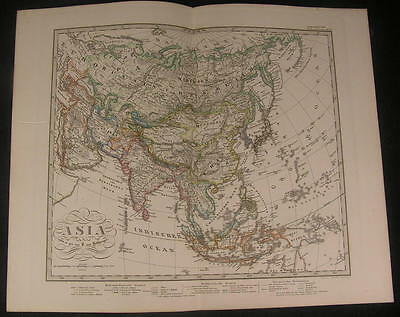 Asia Tibet Korea Japan Ural Ottoman 1866 scarce issue of Stieler old vintage map