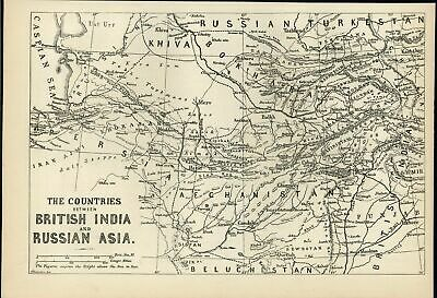 Countries Between British India & Russian Asia Kabul 1878 antique engraved map