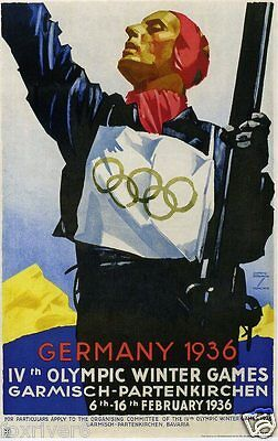 OLYMPICS Berlin 1936 Mini-Poster / Handbill Summer Olympic Games - reprint