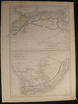 North & South Africa Cape Colony Barbary Tunis 1844 antique engraved color map