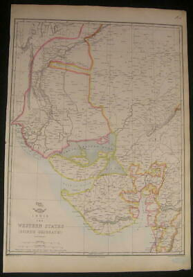 India Western States Scinde Gujerat c.1863 old vintage detailed Weller map