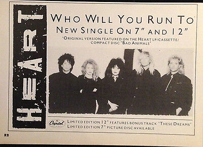 HEART. WHO WILL YOU RUN TO  - HALF PAGE ADVERT FROM 1980s No1 MAGAZINE