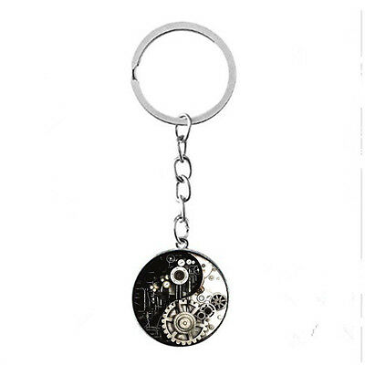 Vintage Glass photo Cabochon charm silver Matal Key ring(Steam Punk yin yang)