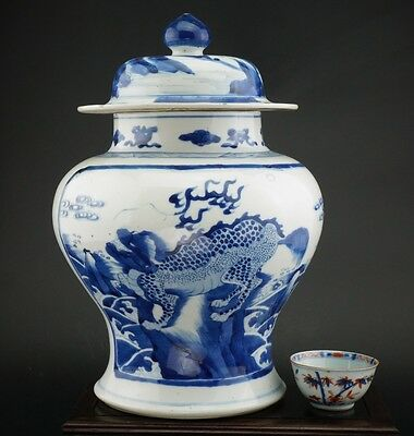 SUPERB! Antique 18th C Chinese Blue and White Porcelain QILIN Vase Cover KANGXI