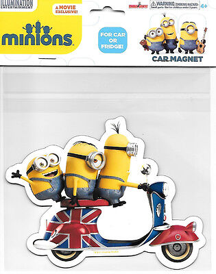 Minions Movie Scooter Minions and British Flag Large Car Magnet, NEW UNUSED