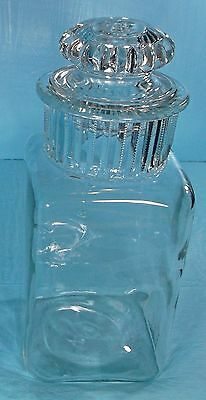EARLY 1900's VINTAGE GLASS APOTHECARY LIDDED CANDY STORE DAKOTA STYLE JAR