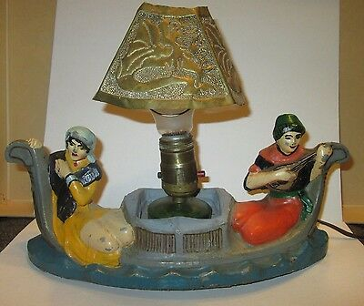 Really fun gondola boat lamp with two painted figures!