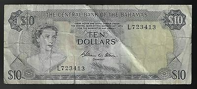 Bahamas, 10 Dollars 1974, Pick 38b Sign Allen  (RARE DATE)