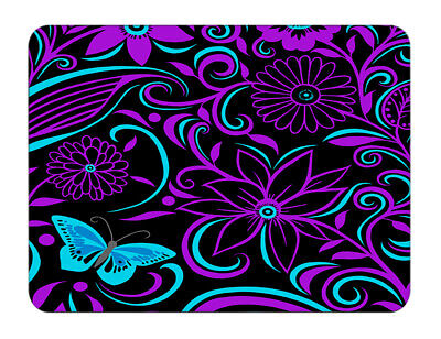 Silent Monsters Gaming & Office Mauspad 24 x 20 cm, Design purple flowers