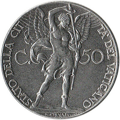 1941 Vatican City 50 Centesimi Coin Archangel Michael KM#25a Mintage 180,000