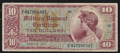 US Military Payment Certificates $10 Dollars Series 521 VF