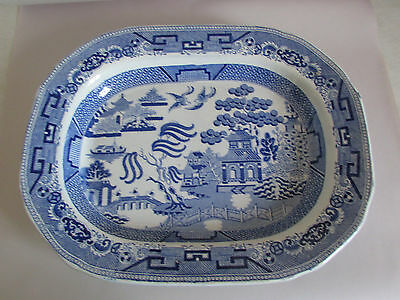 "Vintage Blue Willow 16.5"" Knight & Co Improved Blkin Stone China Turkey Platter"