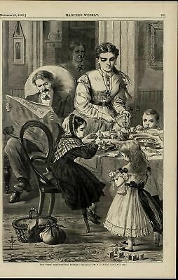 First Thanksgiving Dinner Family Home Life nice 1868 great old print for display