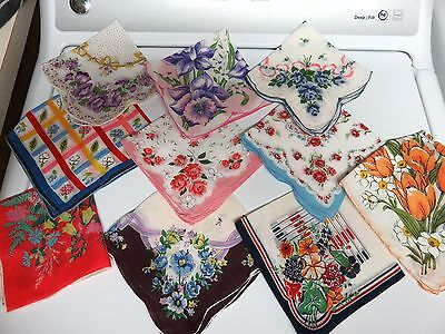 """10 Vintage Handkerchiefs- Floral Prints 10"""" to 14"""" Roses Tulips Daffodils+++"""