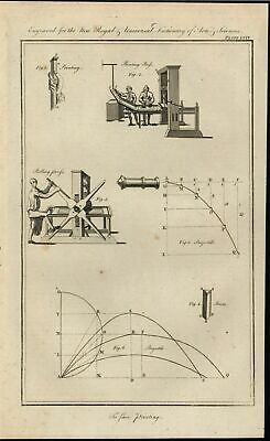 Printing Presses Newtonian Physics of Projectiles 1771 antique engraved print