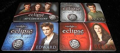 4 Collectible Gift Card TWILIGHT Burger King Restaurant Food Lot No Value  2010