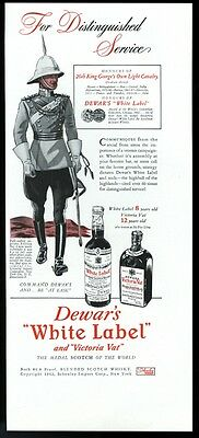 1942 Dewar's Scotch Whisky 26th King George's Own Light Cavalry soldier print ad