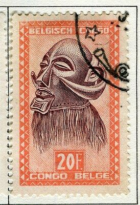 BELGIUM CONGO;   1947 Native Masks / Carvings issue used 20Fr. value