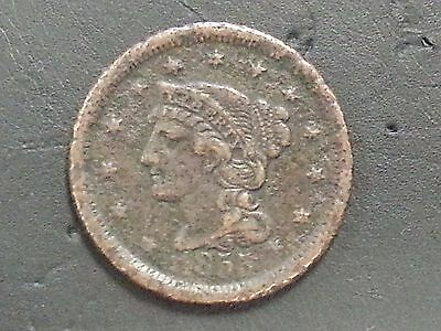 1855 - United States - Braided Hair - Large Cent - One Cent