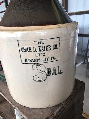 A Vintage 3 Gallon Jug, Advertising Chas D. Kaier Co. Mahanoy City, Pa.