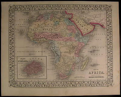 Africa Unknown Interior 1867 Mitchell antique color lithograph map