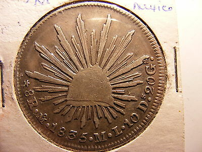 Mexico 8 Reales, 1835-Mo ML, Wide Date, VF