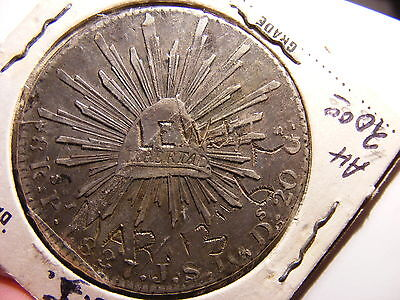 Mexico 8 Reales, 1837-Pi JS, VF Details, with Numismatic Tatto