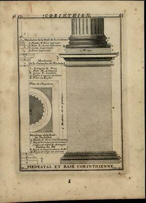 Corinthian Column Pedestal & Base Greek 1696 rare antique Architecture print