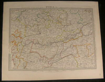 Western India Gulf of Cambay Nerbudda River 1833 antique engraved hand color map