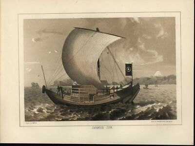Japanese Junk Sailors Calm Seas Coastal 1857 antique color lithograph print