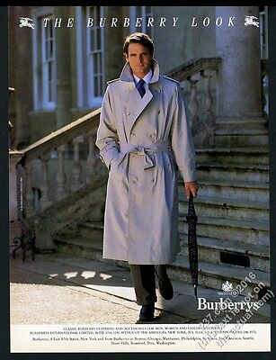 1989 Burberrys man's trench coat photo fashion vintage print ad