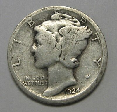 1924-D Mercury Head Silver Dime Grading in the GOOD/VG Range Nice Original Coins