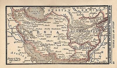 1888 Antique PERSIA Map AFGHANISTAN Map Iraq & Iran RARE MINIATURE Size Map 3714