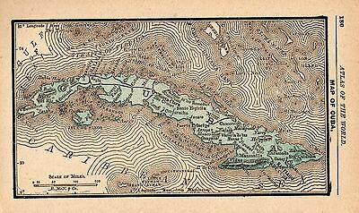 1888 Antique CUBA Map Gallery Wall Art RARE MINIATURE Size Map of Cuba 3715