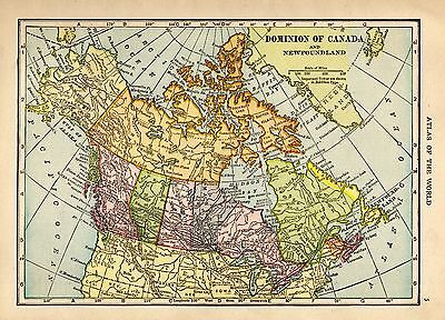 1917 Antique CANADA Map Vintage Map of Canada & Newfoundland smap 3720
