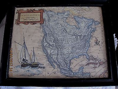 North American Vintage Framed Map,from House Clearance