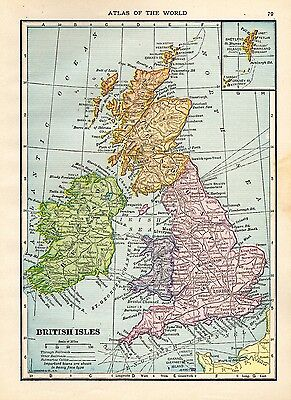 1909 Antique UNITED KINGDOM Map BRITISH ISLES Map Gallery Wall Art smap 3723