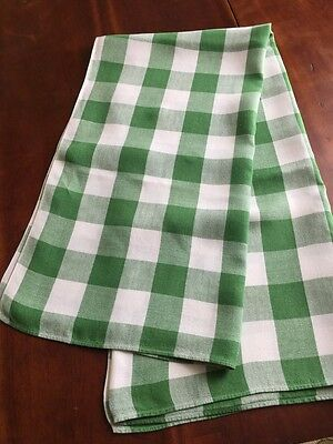 Vintage 100% LINEN Green White Traditional CHECK Tablecloth 50X52 Picnic Kitchen