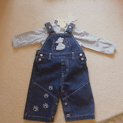 BNWT Tiny Ted denim dungarees and t-shirt set - 0-3 months