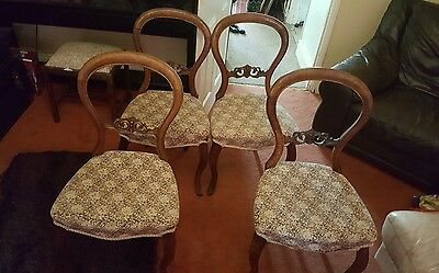 Antique Victorian Balloon Back Chairs   (matching set of four ) ornate carved