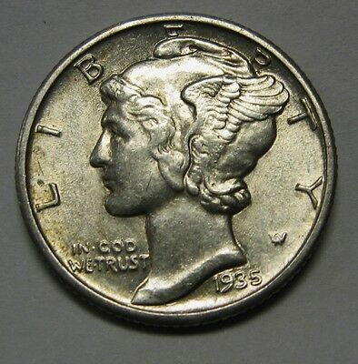1935 Mercury Head Silver Dime Grading in the AU Range Nice Original Coins